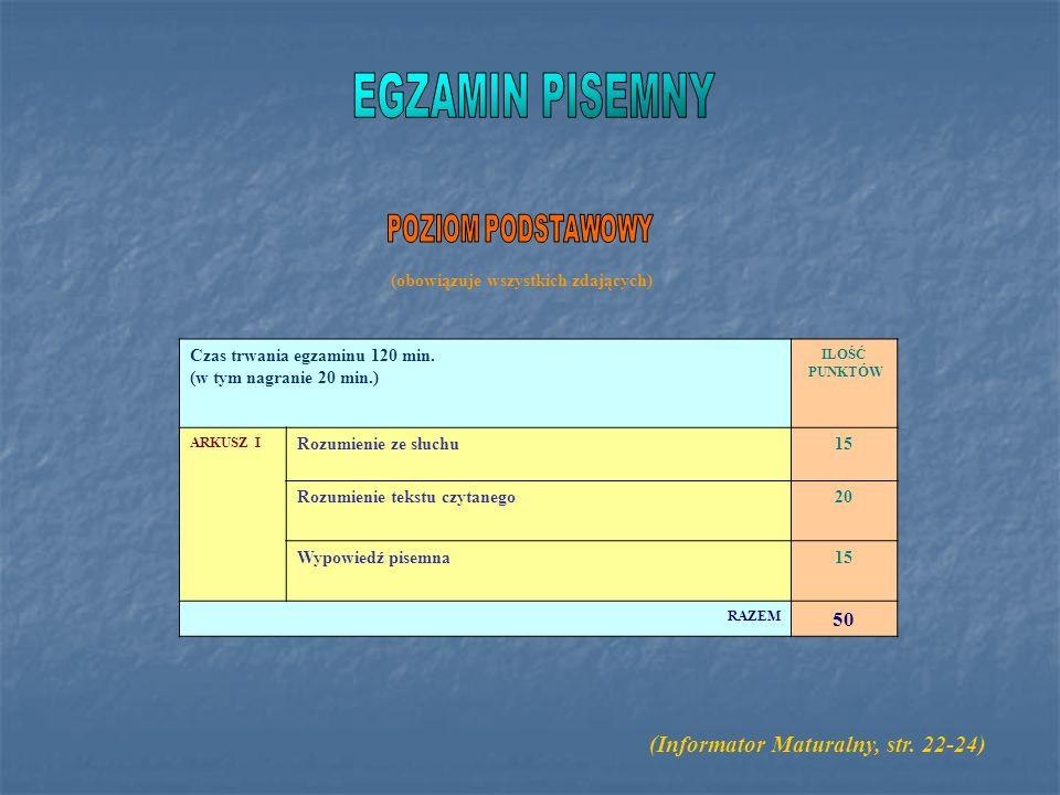 EGZAMIN PISEMNY (Informator Maturalny, str. 22-24) POZIOM PODSTAWOWY