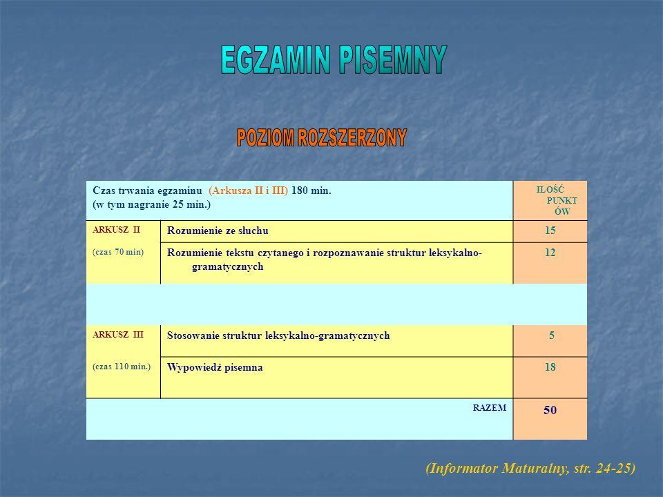 EGZAMIN PISEMNY (Informator Maturalny, str. 24-25) POZIOM ROZSZERZONY