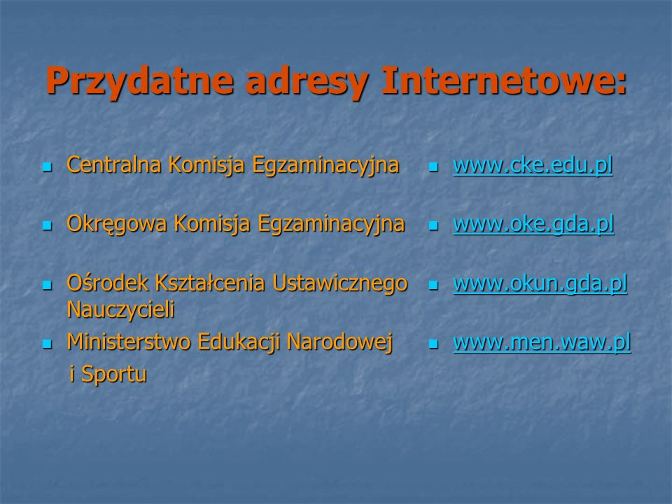 Przydatne adresy Internetowe: