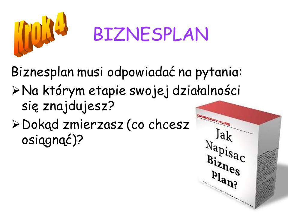 BIZNESPLAN Krok 4 Biznesplan musi odpowiadać na pytania: