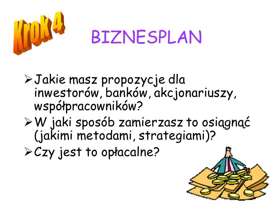 BIZNESPLAN Krok 4. Jakie masz propozycje dla inwestorów, banków, akcjonariuszy, współpracowników