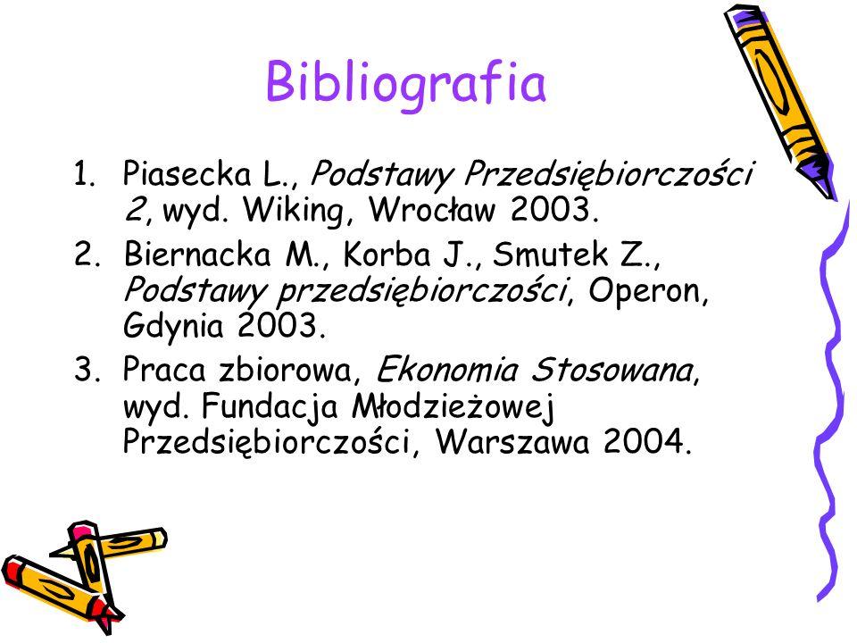 Bibliografia Piasecka L., Podstawy Przedsiębiorczości 2, wyd. Wiking, Wrocław 2003.
