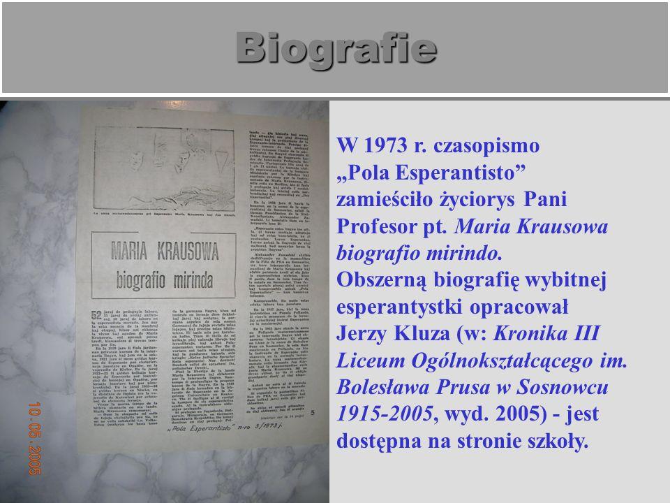 """Biografie W 1973 r. czasopismo """"Pola Esperantisto"""