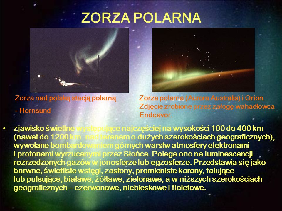 ZORZA POLARNA Zorza nad polską stacją polarną. - Hornsund.