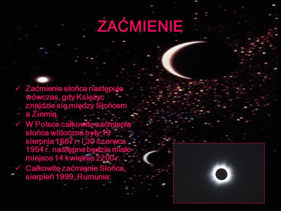 ZAĆMIENIE Zaćmienie słońca następuje wówczas, gdy Księżyc znajdzie się między Słońcem a Ziemią.