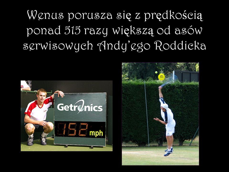 Wenus porusza się z prędkością ponad 515 razy większą od asów serwisowych Andy'ego Roddicka