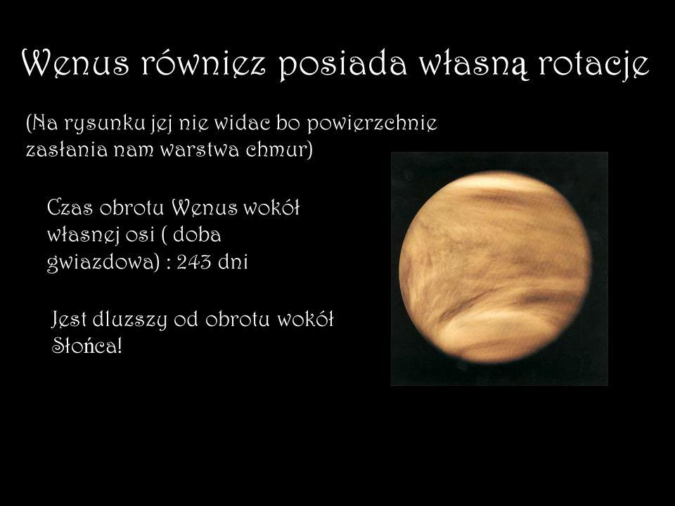 Wenus równiez posiada własną rotacje
