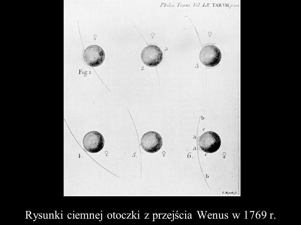 Rysunki ciemnej otoczki z przejścia Wenus w 1769 r.