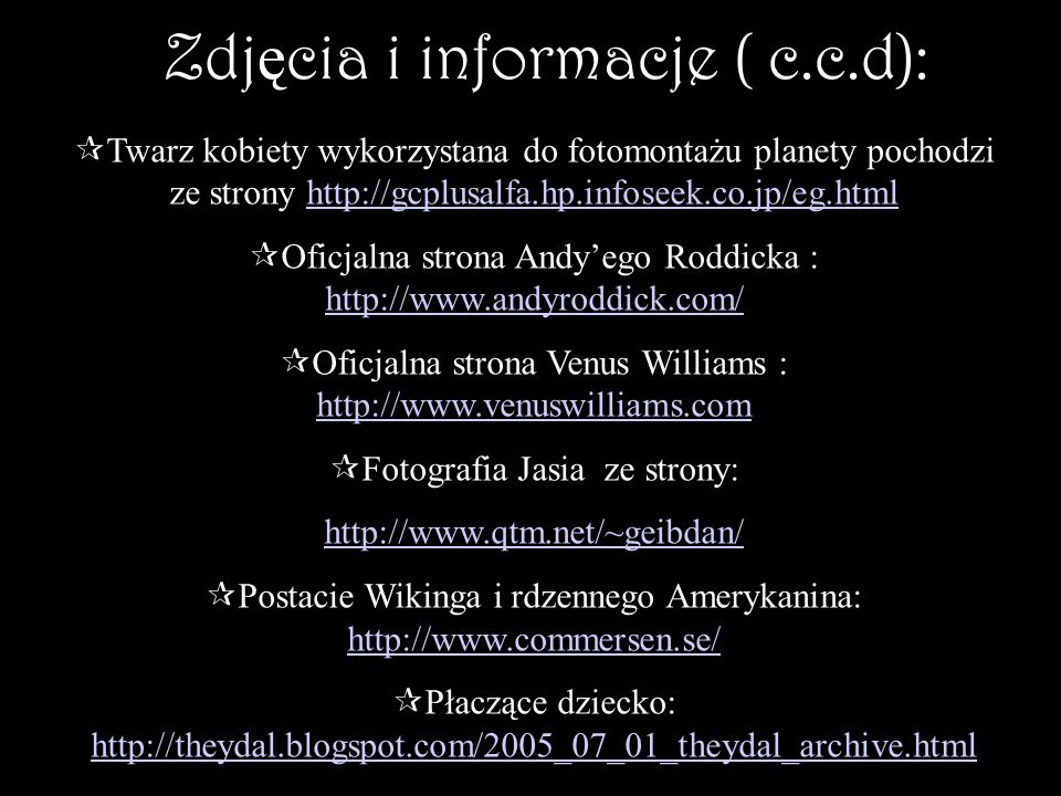 Zdjęcia i informacje ( c.c.d):
