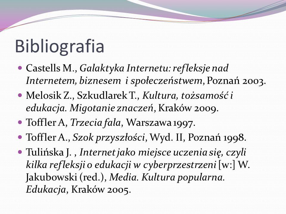 Bibliografia Castells M., Galaktyka Internetu: refleksje nad Internetem, biznesem i społeczeństwem, Poznań 2003.