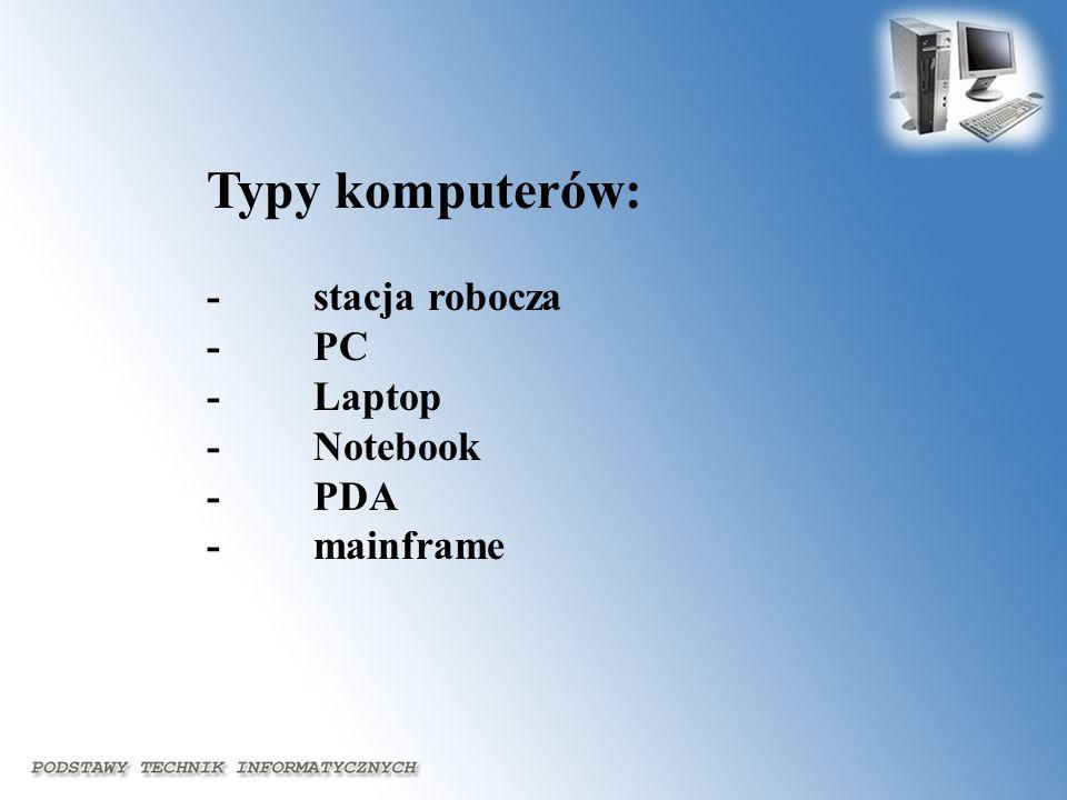 Typy komputerów: - stacja robocza - PC - Laptop - Notebook - PDA