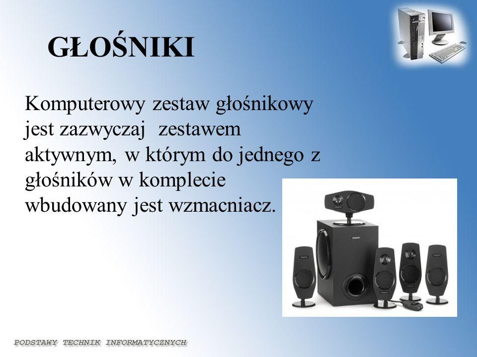 GŁOŚNIKIKomputerowy zestaw głośnikowy jest zazwyczaj zestawem aktywnym, w którym do jednego z głośników w komplecie wbudowany jest wzmacniacz.