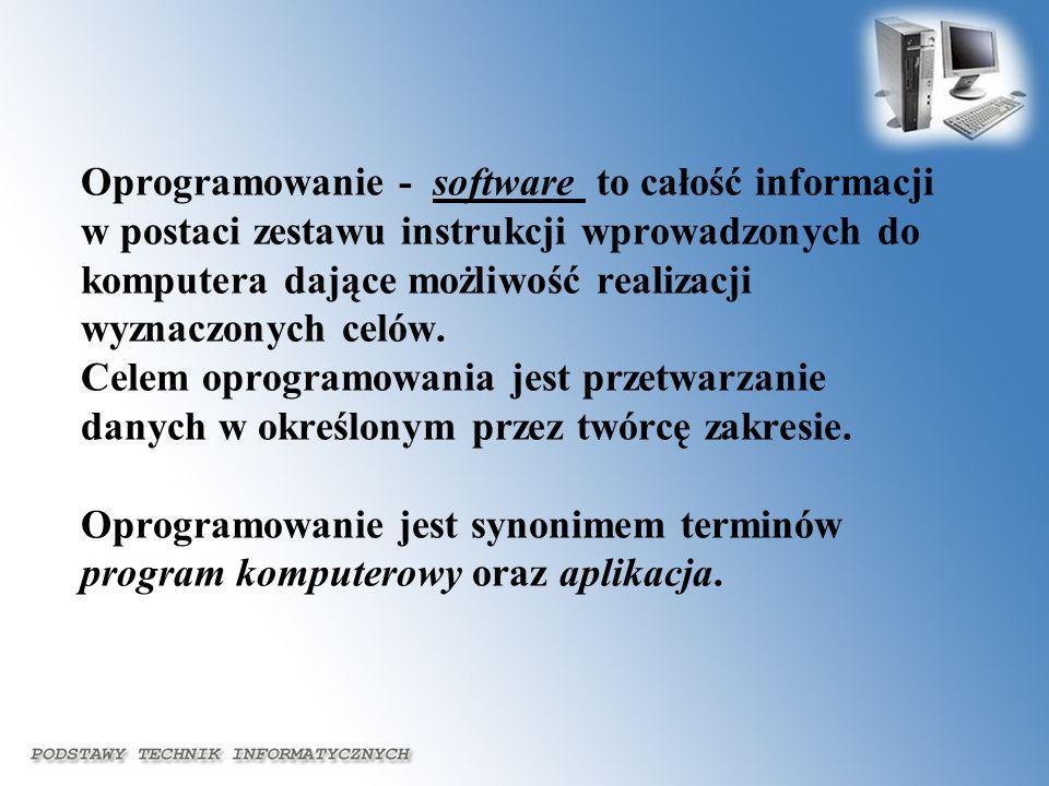 Oprogramowanie - software to całość informacji w postaci zestawu instrukcji wprowadzonych do komputera dające możliwość realizacji wyznaczonych celów.