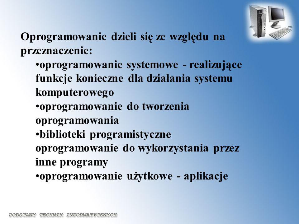 Oprogramowanie dzieli się ze względu na przeznaczenie: