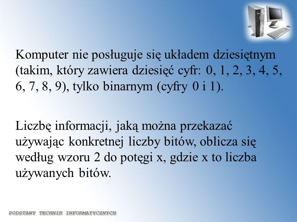 Komputer nie posługuje się układem dziesiętnym (takim, który zawiera dziesięć cyfr: 0, 1, 2, 3, 4, 5, 6, 7, 8, 9), tylko binarnym (cyfry 0 i 1).