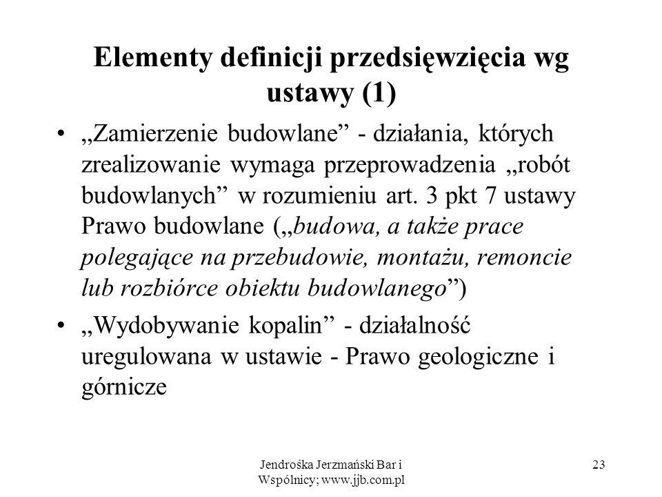 Elementy definicji przedsięwzięcia wg ustawy (1)