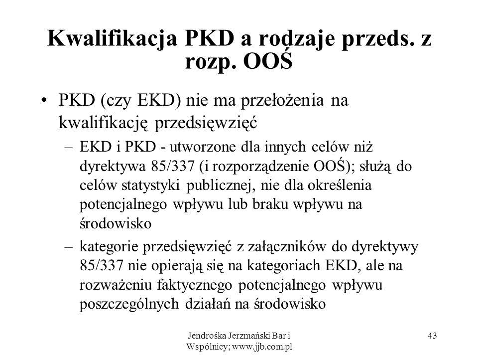 Kwalifikacja PKD a rodzaje przeds. z rozp. OOŚ