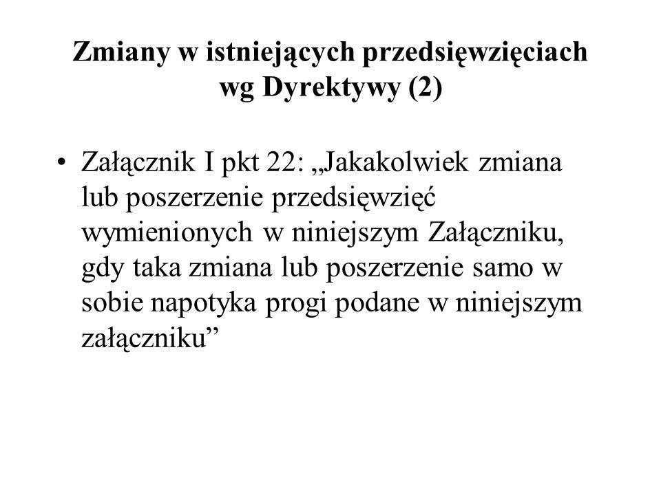 Zmiany w istniejących przedsięwzięciach wg Dyrektywy (2)