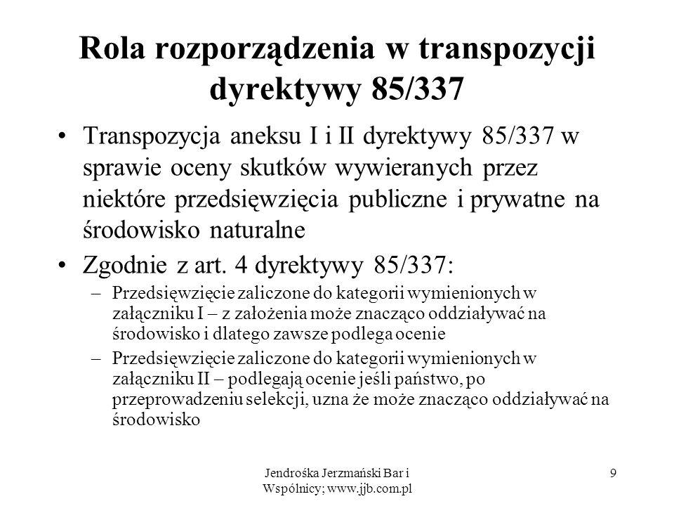 Rola rozporządzenia w transpozycji dyrektywy 85/337