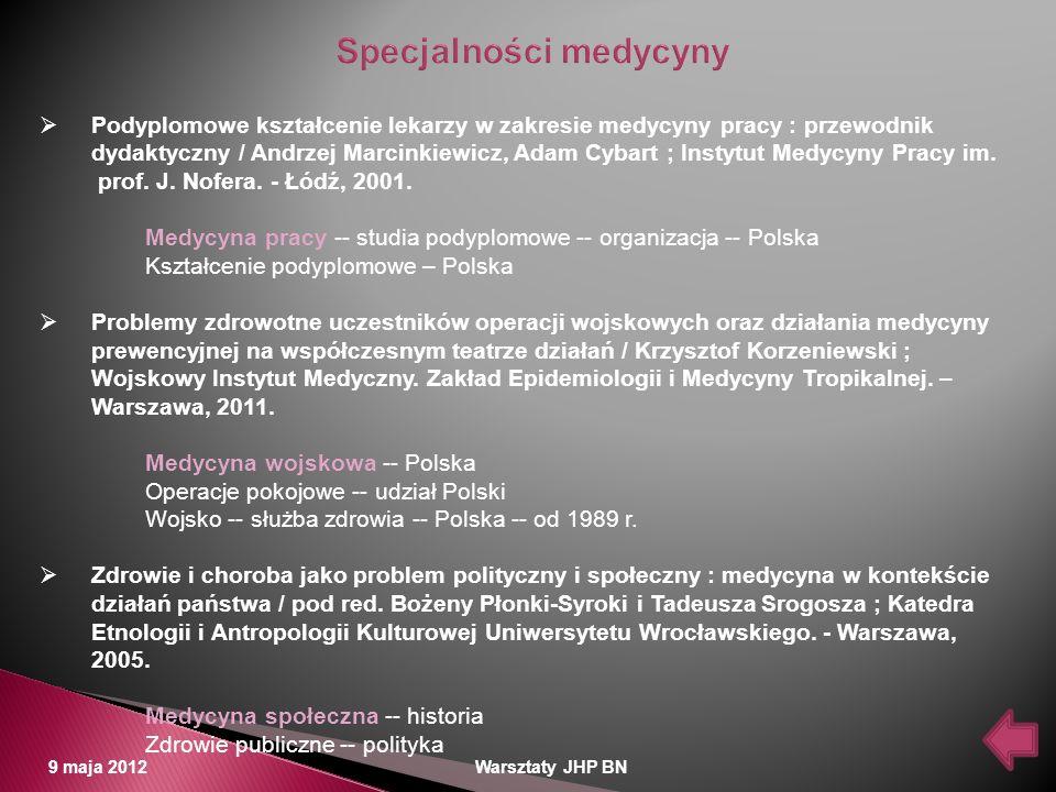 Specjalności medycyny