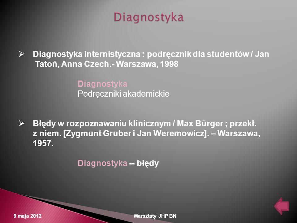 Diagnostyka Diagnostyka internistyczna : podręcznik dla studentów / Jan. Tatoń, Anna Czech.- Warszawa, 1998.