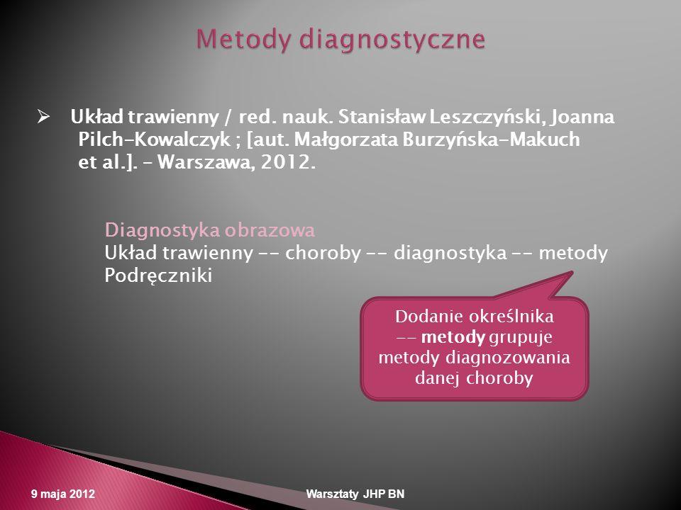 -- metody grupuje metody diagnozowania danej choroby