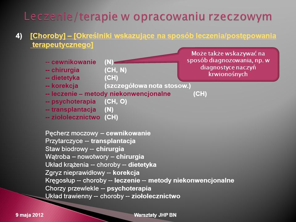 Leczenie/terapie w opracowaniu rzeczowym