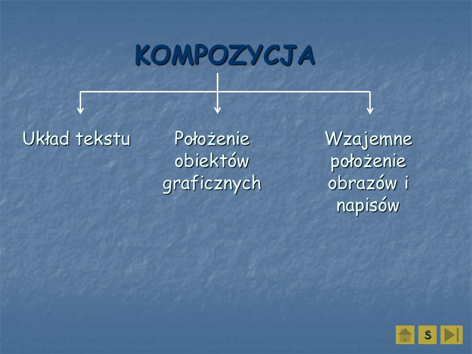 KOMPOZYCJA Układ tekstu Położenie obiektów graficznych