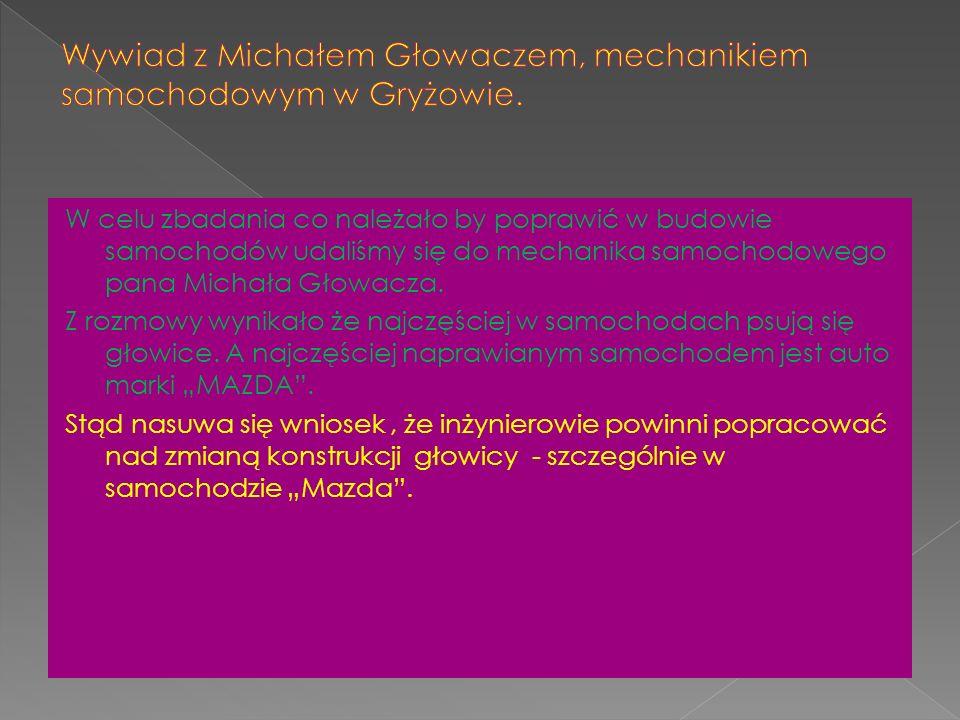 Wywiad z Michałem Głowaczem, mechanikiem samochodowym w Gryżowie.
