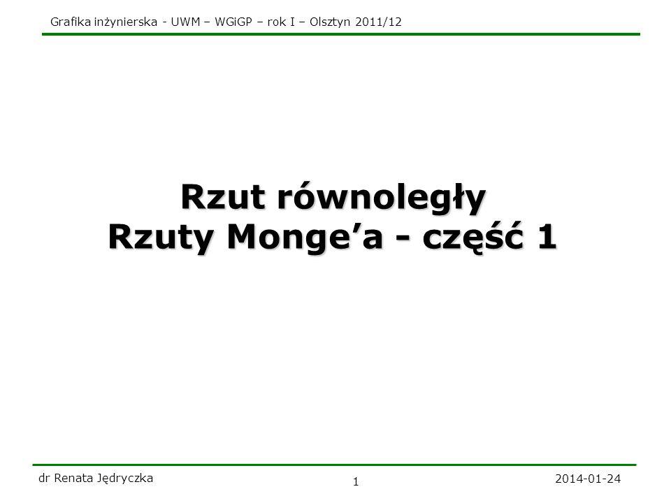Rzut równoległy Rzuty Monge'a - część 1