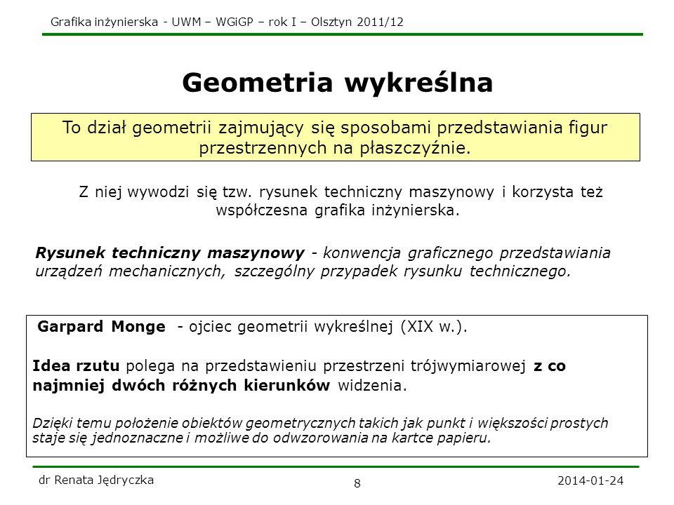 Geometria wykreślna To dział geometrii zajmujący się sposobami przedstawiania figur przestrzennych na płaszczyźnie.