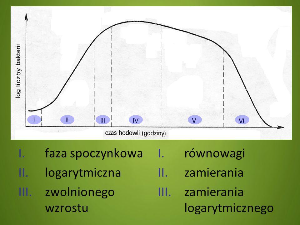 faza spoczynkowa logarytmiczna. zwolnionego wzrostu.