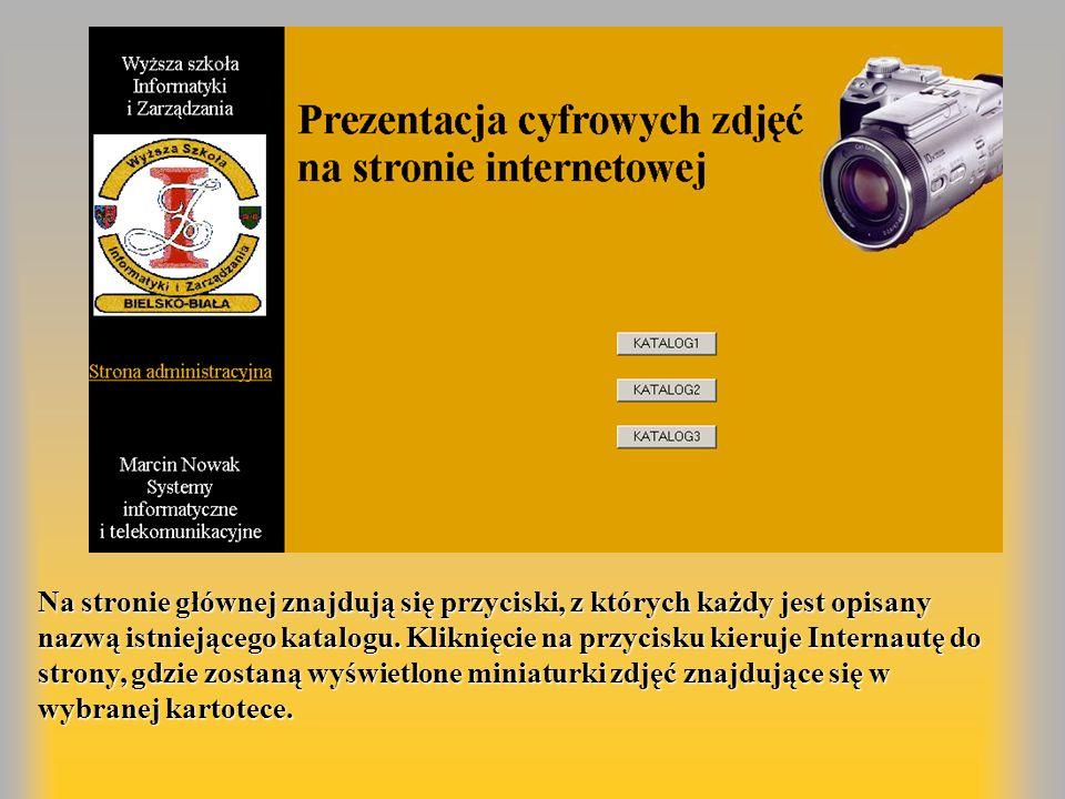 Na stronie głównej znajdują się przyciski, z których każdy jest opisany nazwą istniejącego katalogu.