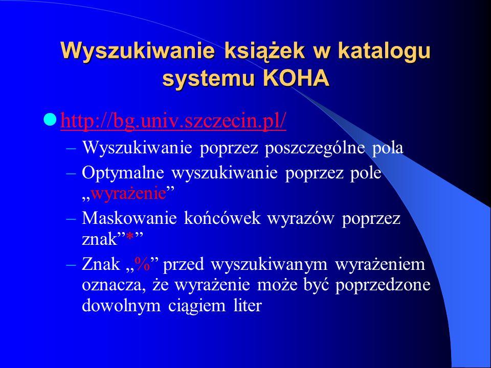 Wyszukiwanie książek w katalogu systemu KOHA