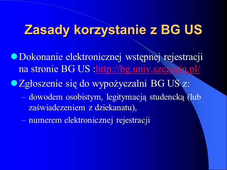 Zasady korzystanie z BG US