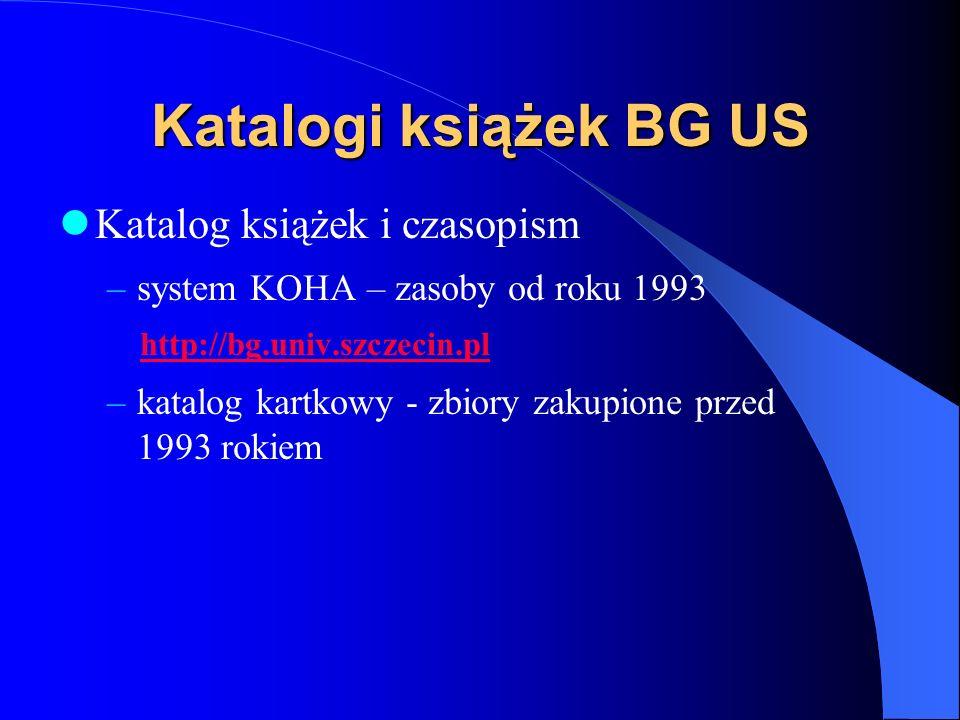 Katalogi książek BG US Katalog książek i czasopism