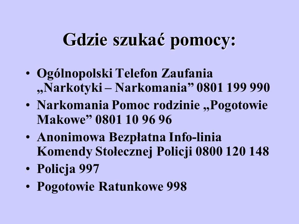 """Gdzie szukać pomocy: Ogólnopolski Telefon Zaufania """"Narkotyki – Narkomania 0801 199 990. Narkomania Pomoc rodzinie """"Pogotowie Makowe 0801 10 96 96."""