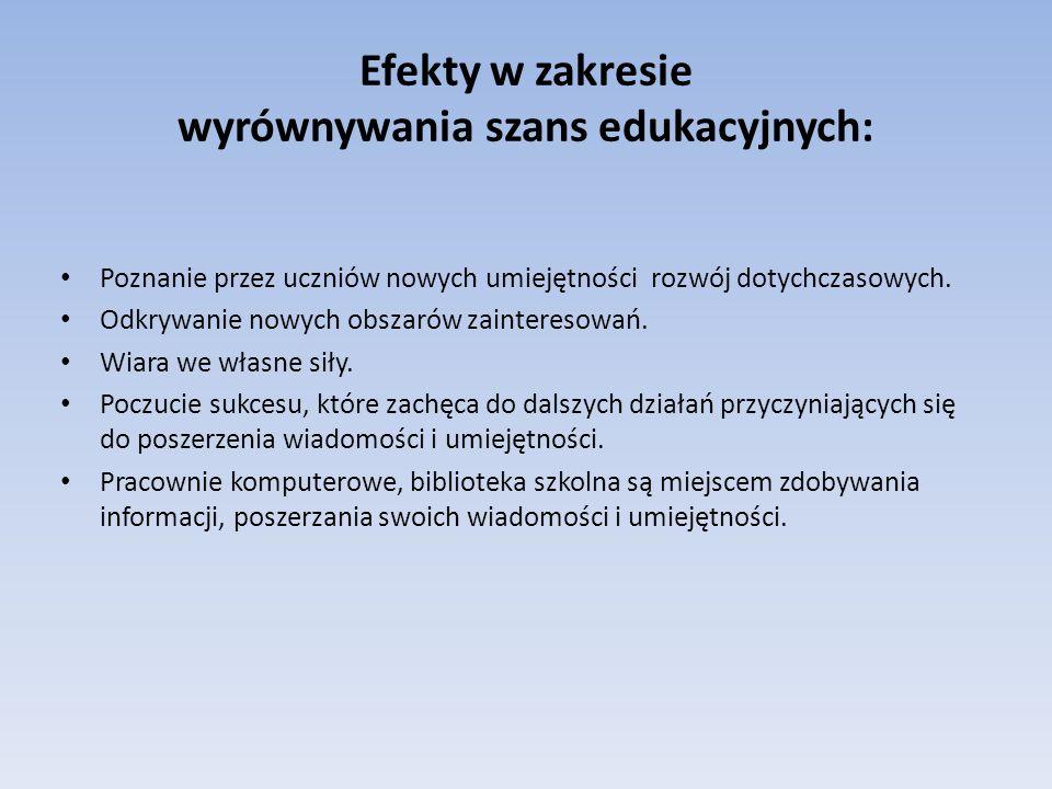 Efekty w zakresie wyrównywania szans edukacyjnych: