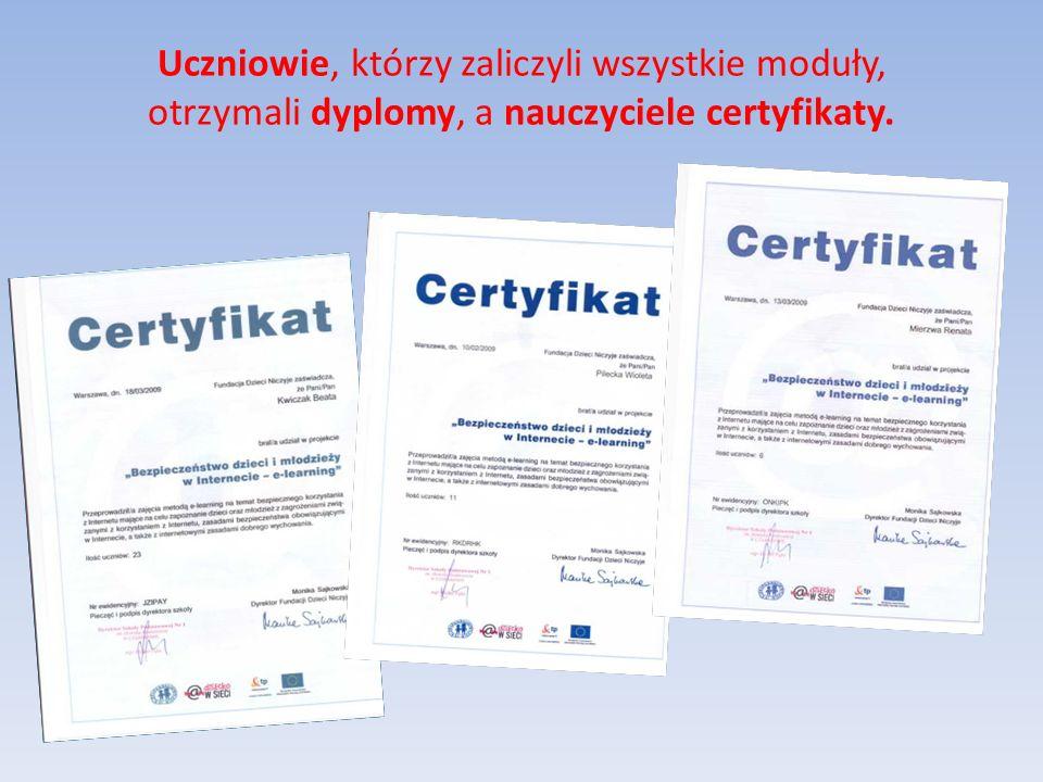 Uczniowie, którzy zaliczyli wszystkie moduły, otrzymali dyplomy, a nauczyciele certyfikaty.