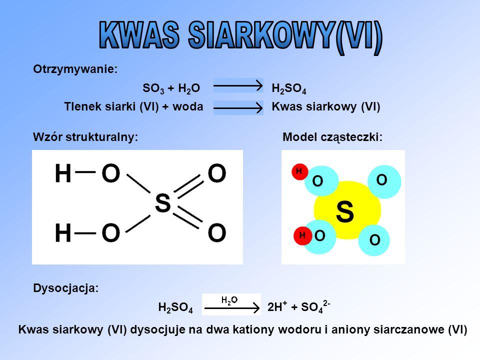 KWAS SIARKOWY(VI) Otrzymywanie: SO3 + H2O H2SO4