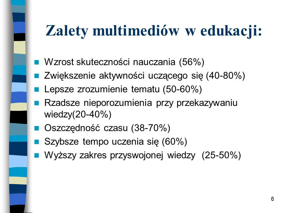 Zalety multimediów w edukacji: