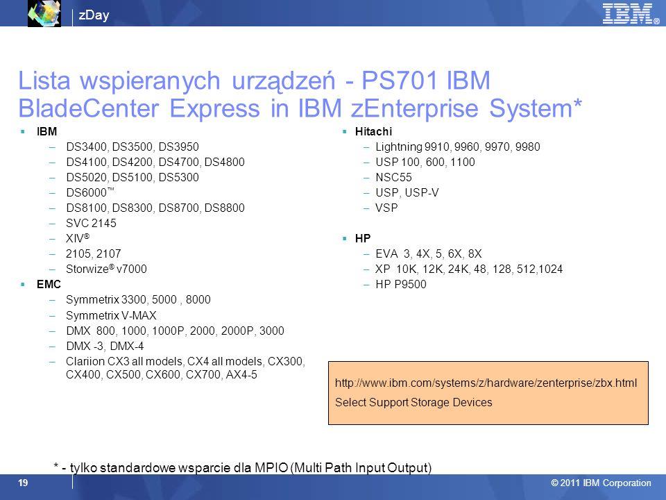 Lista wspieranych urządzeń - PS701 IBM BladeCenter Express in IBM zEnterprise System*