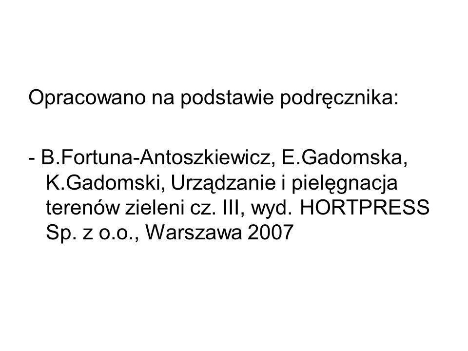 Opracowano na podstawie podręcznika: - B. Fortuna-Antoszkiewicz, E
