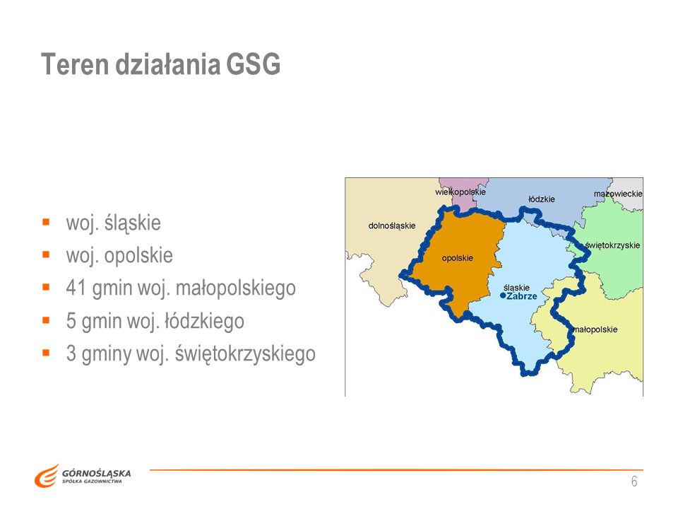 Teren działania GSG woj. śląskie woj. opolskie