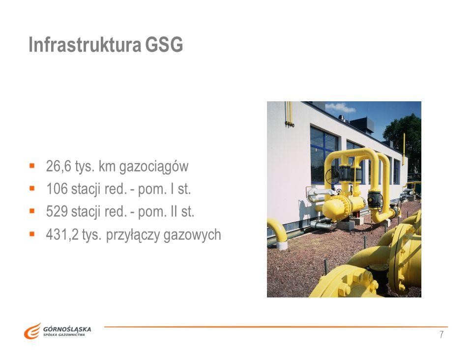 Infrastruktura GSG 26,6 tys. km gazociągów
