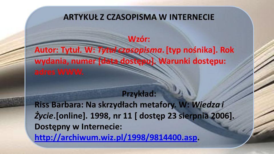 ARTYKUŁ Z CZASOPISMA W INTERNECIE