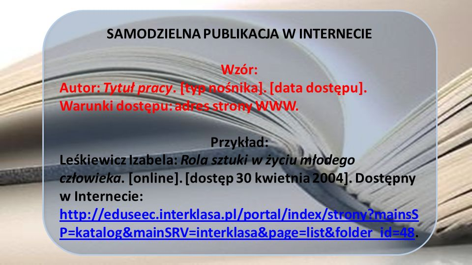 SAMODZIELNA PUBLIKACJA W INTERNECIE