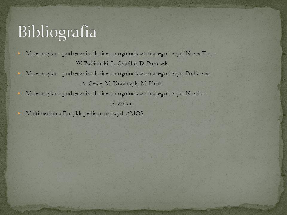 Bibliografia Matematyka – podręcznik dla liceum ogólnokształcącego 1 wyd. Nowa Era – W. Babiański, L. Chańko, D. Ponczek.