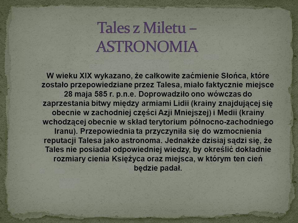 Tales z Miletu – ASTRONOMIA