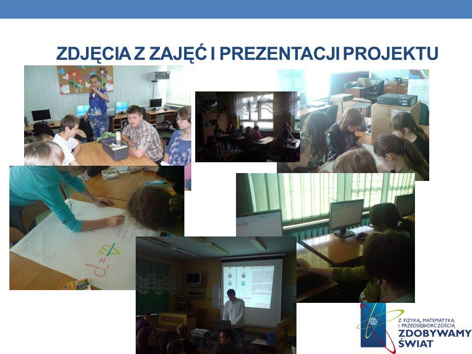 Zdjęcia z zajęć i prezentacji projektu